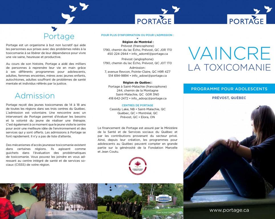 Programme pour adolescent - Portage - Dépliant français