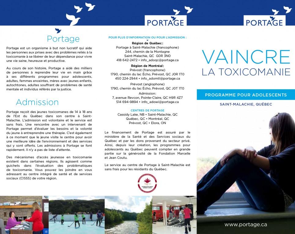 Programme pour adolescent - Portage St-Malachie - Dépliant français