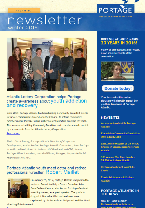 Portage Atlantic Winter Newsletter 2016 - Freedom from addiction