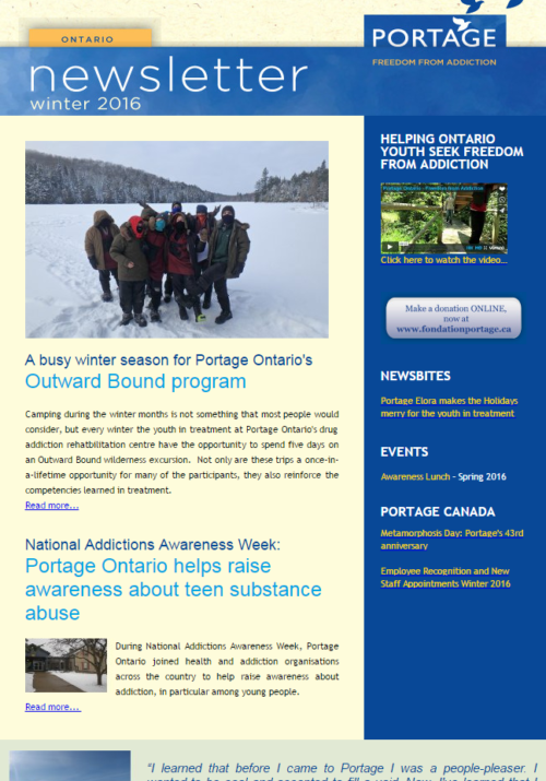 Portage Ontario Winter Newsletter 2016 Freedom from addiction