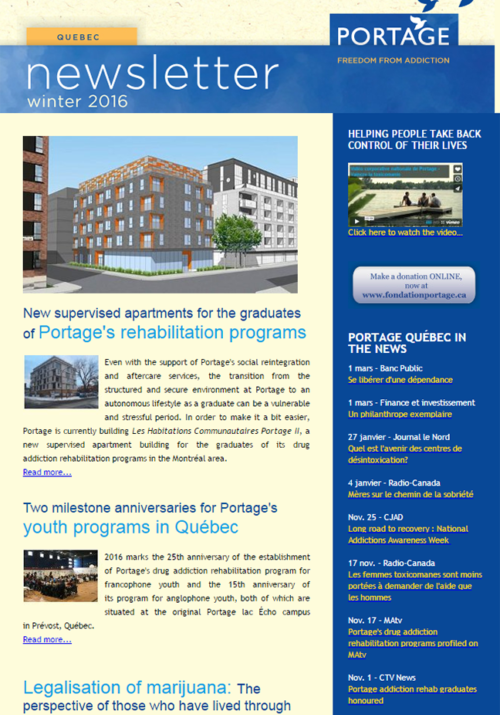 Portage Québec Winter Newsletter 2016 - Freedom from addiction